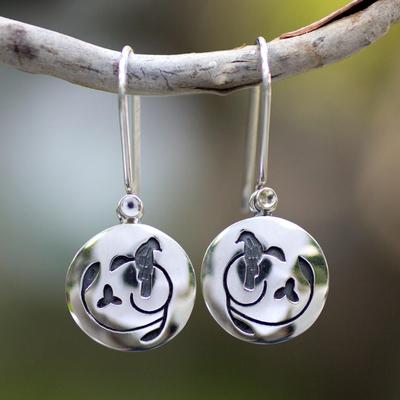 Sterling silver dangle earrings, 'Hopeful Nightingale' - Hand Made Sterling Silver Bird Earrings from Mexico
