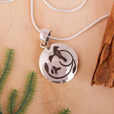 Sterling silver pendant necklace, 'Hopeful Nightingale' - Modern Sterling Silver Bird Pendant Necklace Mexico