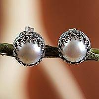 Cultured pearl stud earrings, 'Taxco Royalty' - Hand Crafted Bridal Earrings Fine Silver with Pearls