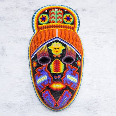 Beadwork mask, 'Deer Shaman' - Hand Crafted Huichol Multicolor Beaded Mask