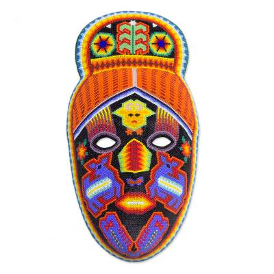 Beadwork mask, 'Deer Shaman' - Hand Crafted Huichol Multicolor Beaded Mask