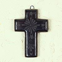 Ceramic cross, 'Huejucar Faith' - Religious Black Pottery Cross