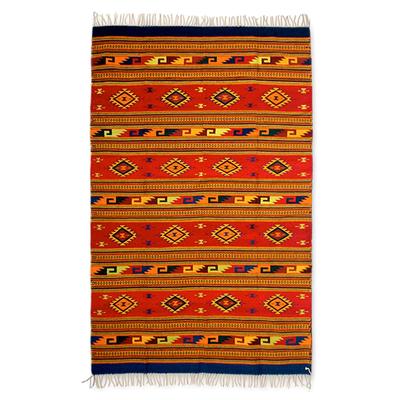 Zapotec wool rug, 'Mitla Butterflies' (6.5x10) - Authentic Zapotec Wool Area Rug (6.5x10)