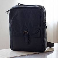 Men's leather messenger bag, 'Out of Office in Black'