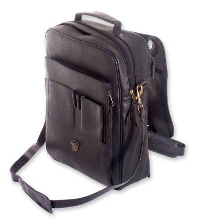 Novica Leather backpack, Mysterious Traveler