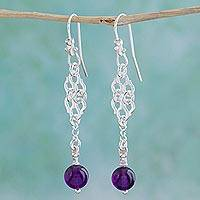Amethyst dangle earrings, 'Zapotec Lace' - Amethyst dangle earrings