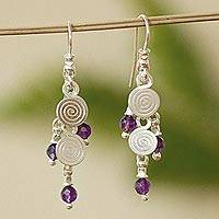 Amethyst chandelier earrings, 'Popocateptl Rocks' - Amethyst chandelier earrings