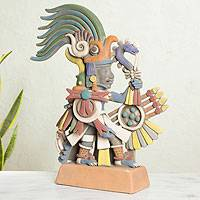 Ceramic sculpture, 'Huitzilopochtli' - Mexican Aztec War God Archaeological Ceramic Sculpture
