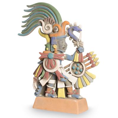 Mexican Aztec War God Archaeological Ceramic Sculpture