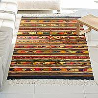 Zapotec wool rug, 'Color Celebration' (5.5x8.5) - Handcrafted Zapotec Area Rug (5.5x8.5)