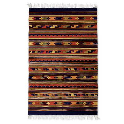 Zapotec wool rug, 'Color Celebration' (5.5x8.5) - Mexican Zapotec Wool Area Rug (5.5x8.5)