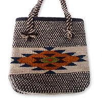 Wool tote bag, 'Zapotec Sunshine'