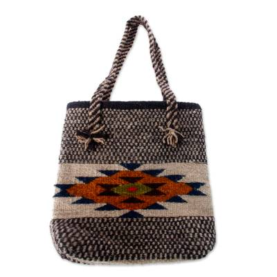 Wool tote bag, 'Zapotec Sunshine' - Wool Geometric Patterned Tote Handbag