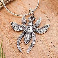 Sterling silver pendant necklace, 'Plier Bee' - Sterling silver pendant necklace