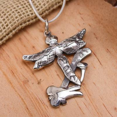 Sterling silver pendant necklace, 'The Hammer and the Dragonfly' - Hammer Dragonfly Art Sterling Silver Pendant Necklace