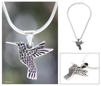 Silver pendant necklace, 'Aztec Hummingbird' - Artisan Crafted Women's Fine Silver Bird Necklace