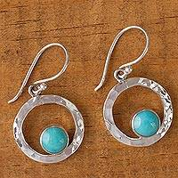 Turquoise dangle earrings, 'Eye of the Sea' - Handcrafted Modern Fine Silver and Natural Turquoise Earring