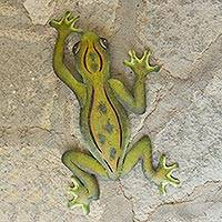 Steel wall art, 'Mexican Tree Frog' - Unique Hand Crafted Steel Wall Art Sculpture