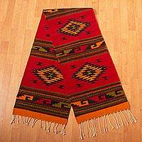 Zapotec wool rug, 'Four Diamonds' (1.5x6.5)