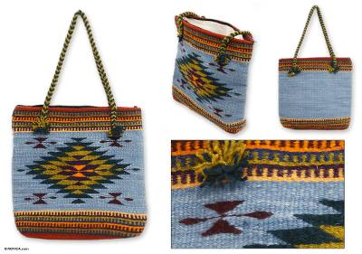 Wool tote bag, Zapotec Fantasy