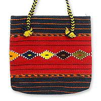 Wool tote bag, 'Zapotec Legacy' - Geometric Wool Tote Handbag from Mexico