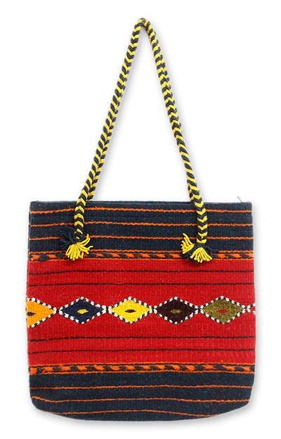 Wool tote bag, 'Zapotec Legacy' - Geometric Wool Tote Handbag from Mexico