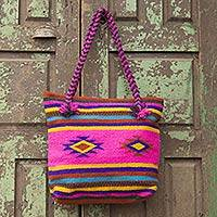 Wool tote bag, 'Zapotec Fiesta' - Hand Made Mexican Wool Shoulder Bag