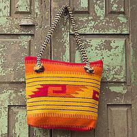 Wool tote bag, 'Zapotec Sunrise' - Artisan Crafted Geometric Wool Shoulder Bag