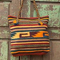 Wool tote bag, 'Zapotec Twilight' - Geometric Wool Shoulder Bag Hand Woven in Mexico