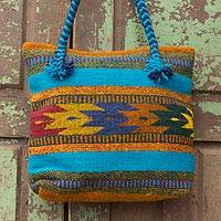 Wool tote bag, 'Zapotec Summertime' - Wool tote bag