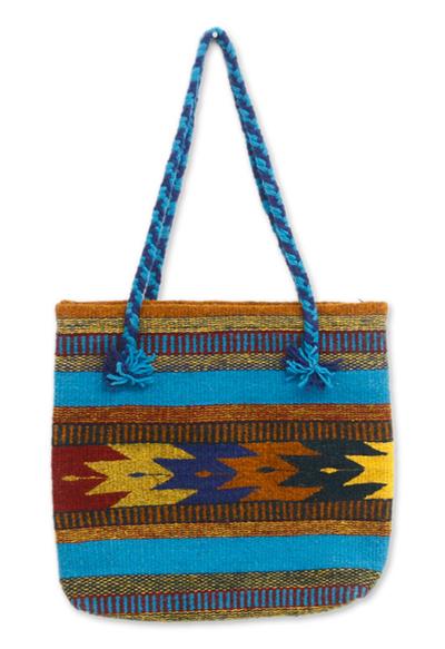 Wool tote bag, 'Zapotec Summertime' - Wool tote bag