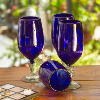 Blown glass goblets, 'Night Sky' (set of 6) - Hand Blown Glass Goblets Set of 6 Cobalt Blue Mexico