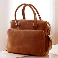 Leather laptop travel bag, 'Honey Cyberspace' (13 inch)