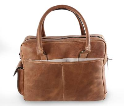 Leather laptop travel bag, 'Honey Cyberspace' (13 inch) - Handcrafted Leather Laptop Bag (13 Inch)