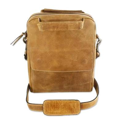 Leather tablet case, 'Honey Cyberspace' - Tan Leather Tablet Case