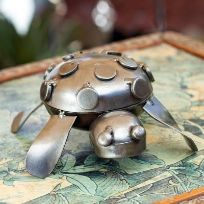 Iron decorative box, 'Rustic Turtle' - Mexico Rustic Recycled Metal Animal Sculpture