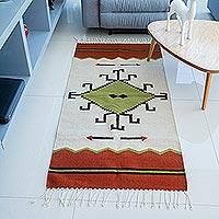Zapotec wool rug, 'Spider Sun' (2.5x5) - Zapotec wool rug (2.5x5)