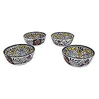Ceramic soup bowls, 'Guanajuato Flora' (set of 4) - Fair Trade Set of 4 Ceramic Bowls Dinnerware