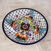 Ceramic appetizer platter, 'Guanajuato Flora' - Mexican Talavera Style Bright Floral Ceramic Platter