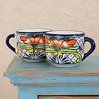 Ceramic coffee cups, 'Guanajuato Flora' (set of 4) - Set of 4 Mexican Talavera Style Ceramic Coffee Cups