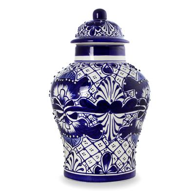 Unique Talavera Style Ceramic Ginger Jar