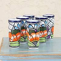 Ceramic tequila glasses, 'Guanajuato Flora' (set of 6) - Set of 6 Floral Ceramic Tequila Glasses from Mexico