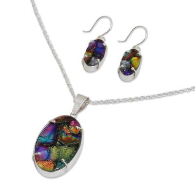 Dichroic art glass jewelry set, 'Ethereal' - Dichroic art glass jewelry set