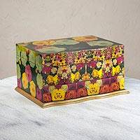 Decoupage jewelry box, 'Bright Bouquet' - Handcrafted Floral Decoupage jewellery Box