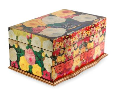 Handcrafted Floral Decoupage Jewelry Box