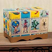 Decoupage chest, 'Loteria' (large) - Collectible Loteria Folk Art Decorative Box (Large)
