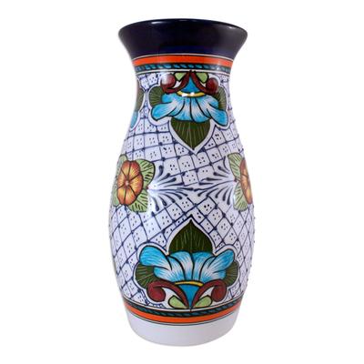 Floral Ceramic Vase Handmade Mexican Folk Art