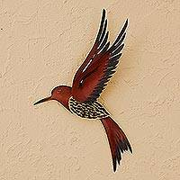 Steel wall sculpture, 'Ruby Breasted Hummingbird' - Unique Steel Bird Wall Art