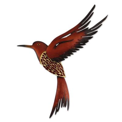 Steel wall sculpture, 'Ruby Breasted Hummingbird' - Unique Steel Bird Wall Art