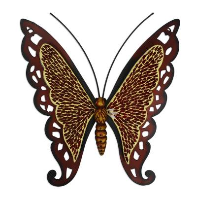 Iron wall sculpture, 'Ruby Wing Butterfly' - Hand Crafted Mosaic Steel Glass Wall Art